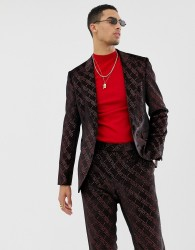 ASOS DESIGN super skinny suit jacket in velvet with red glitter design - Red