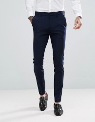 ASOS DESIGN super skinny tuxedo suit trousers in navy - Navy