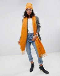 ASOS DESIGN supersoft long woven scarf with tassels - Yellow