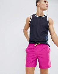 ASOS DESIGN Swim Short In Purple With Neon Drawcord In Mid Length - Purple