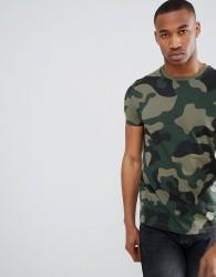 ASOS DESIGN t-shirt in all over camo print - Green