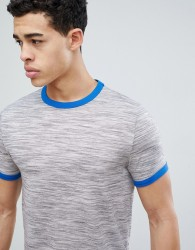 ASOS DESIGN t-shirt in interest fabric with contrast neck trim in grey - Grey
