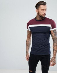 ASOS DESIGN t-shirt with colour block in navy - Navy