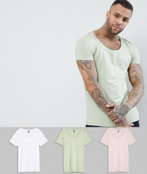 ASOS DESIGN t-shirt with deep scoop 3 pack SAVE - Multi