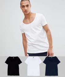 ASOS DESIGN t-shirt with scoop neck 3 pack SAVE - Multi