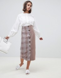 ASOS DESIGN tailored cut about check button Midi skirt - Multi