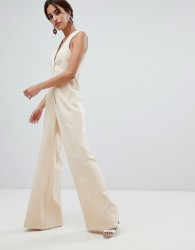 ASOS DESIGN Tailored Jumpsuit with Wide Leg - Beige