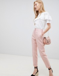 ASOS DESIGN tailored linen cigarette trousers - Pink