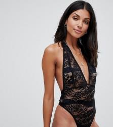 ASOS DESIGN Tall Amy ring back ribbon bodysuit - Black