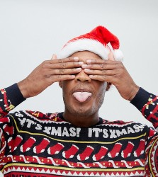 ASOS DESIGN Tall Christmas jumper with festive design in navy - Navy