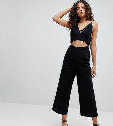 ASOS DESIGN Tall cotton jumpsuit with cut out detail - Black