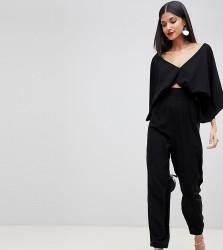 ASOS DESIGN Tall jumpsuit with kimono sleeve and peg leg - Black