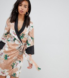 ASOS DESIGN Tall kimono wrap mini dress in floral jacquard print - Multi