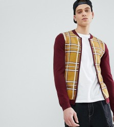 ASOS DESIGN Tall Knitted Bomber Jacket In Burgundy And Mustard Check - Multi