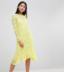 ASOS DESIGN Tall Lace Midi Swing Dress With Ruffle Hem - Yellow