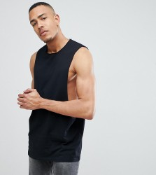 ASOS DESIGN Tall longline vest with extreme dropped armhole in black - Black
