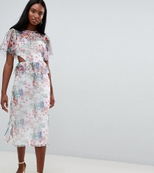 ASOS DESIGN Tall midi mesh tea dress in floral print with cut out detail - Multi