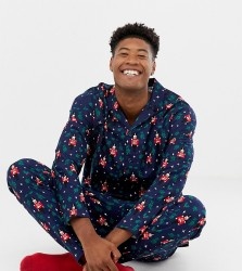 ASOS DESIGN TALL mr & mrs Christmas woven pyjama set with nutcracker design - Navy