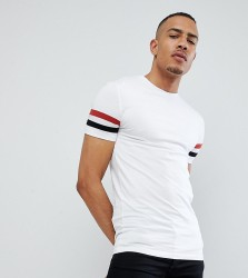 ASOS DESIGN Tall muscle fit t-shirt with contrast sleeve panels - White