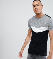 ASOS DESIGN Tall muscle t-shirt with roll sleeve and chevron colour block in twisted jersey - Grey