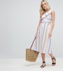 ASOS DESIGN Tall One Shoulder Pastel Stripe Midi Dress - Multi