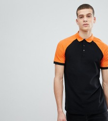 ASOS DESIGN Tall pique contrast raglan polo - Multi
