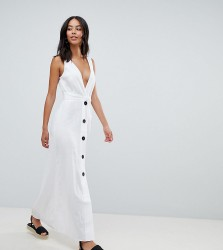 ASOS DESIGN Tall plunge city maxi dress with button front detail - White