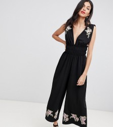 ASOS DESIGN Tall Ruched Waist Plunge Jumpsuit With Embroidery - Black