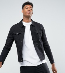 ASOS DESIGN tall skinny denim jacket in black - Black