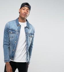 ASOS DESIGN Tall skinny denim jacket in mid wash - Blue