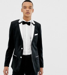 ASOS DESIGN Tall skinny tuxedo suit jacket in black with white tipping - Black
