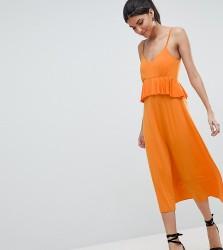ASOS DESIGN Tall slinky midi sundress with waist ruffle - Orange