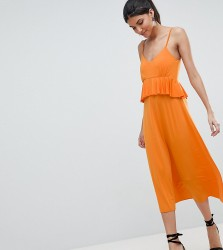 ASOS DESIGN Tall slinky midi sundress with waist ruffle - Orange