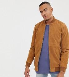 ASOS DESIGN Tall suede bomber jacket in tan - Tan