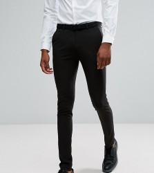 ASOS DESIGN Tall super skinny tuxedo suit trousers in black - Black