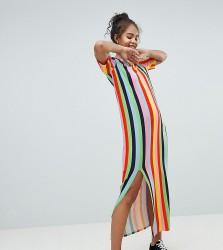 ASOS DESIGN Tall t-shirt maxi dress in rainbow stripe - Multi