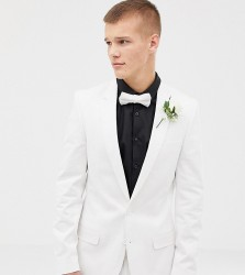 ASOS DESIGN Tall wedding skinny suit jacket in stretch cotton in white - White