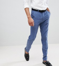 ASOS DESIGN Tall Wedding Skinny Suit Trousers In Provence Blue Cross Hatch - Blue