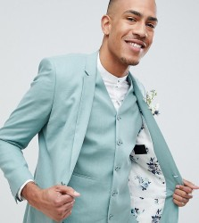 ASOS DESIGN Tall Wedding Super Skinny Suit Jacket In Sage Green Linen - Green