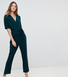 ASOS DESIGN Tall Wrap Jumpsuit with Self Belt - Green