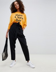 ASOS DESIGN tapered high waist balloon tapered trousers - Black