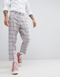 ASOS DESIGN Tapered Smart Trouser In Light Grey Wool Mix With Red Check - Grey
