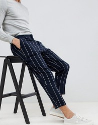 ASOS DESIGN Tapered Smart Trousers In Navy Stripe - Navy