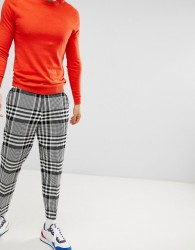 ASOS DESIGN Tapered Smart Trousers In Oversized Check - Black