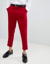 ASOS DESIGN tapered smart trousers in red - Red