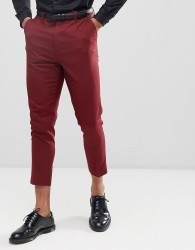 ASOS DESIGN Tapered Suit Trousers In Burgundy - Red