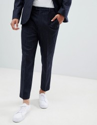 ASOS DESIGN tapered suit trousers in navy wool blend pinstripe - Navy