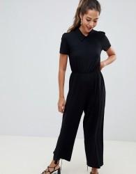 ASOS DESIGN tea jumpsuit with collar detail - Black