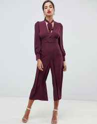 ASOS DESIGN tea jumpsuit with tie neck and piping - Purple