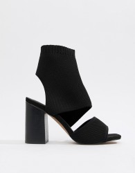 ASOS DESIGN Teric knitted heeled sandals - Black